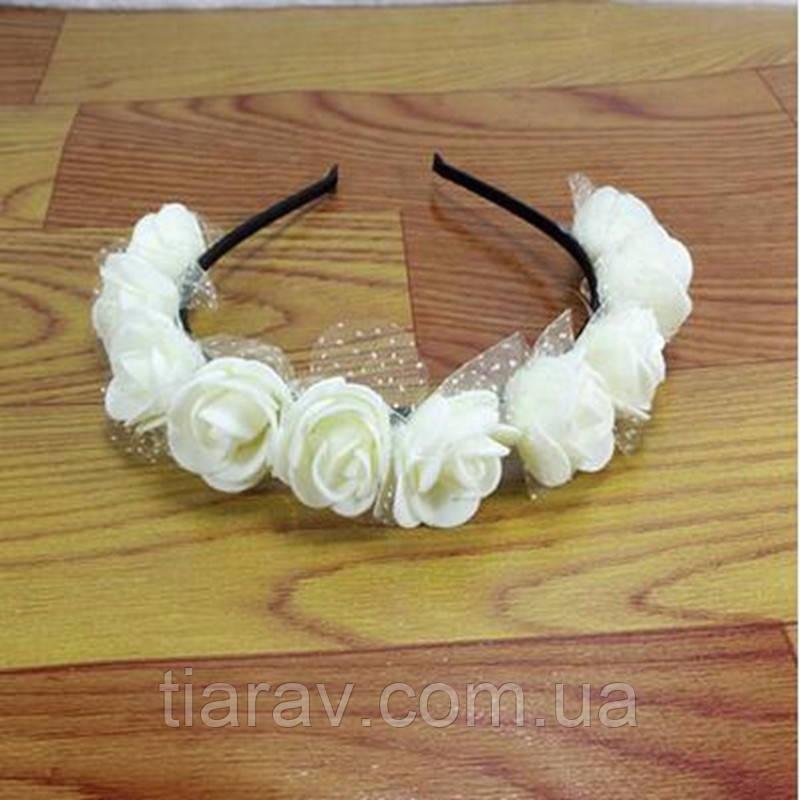 Обруч - веночек для волос белые цветы Тиара Виктория свадебный
