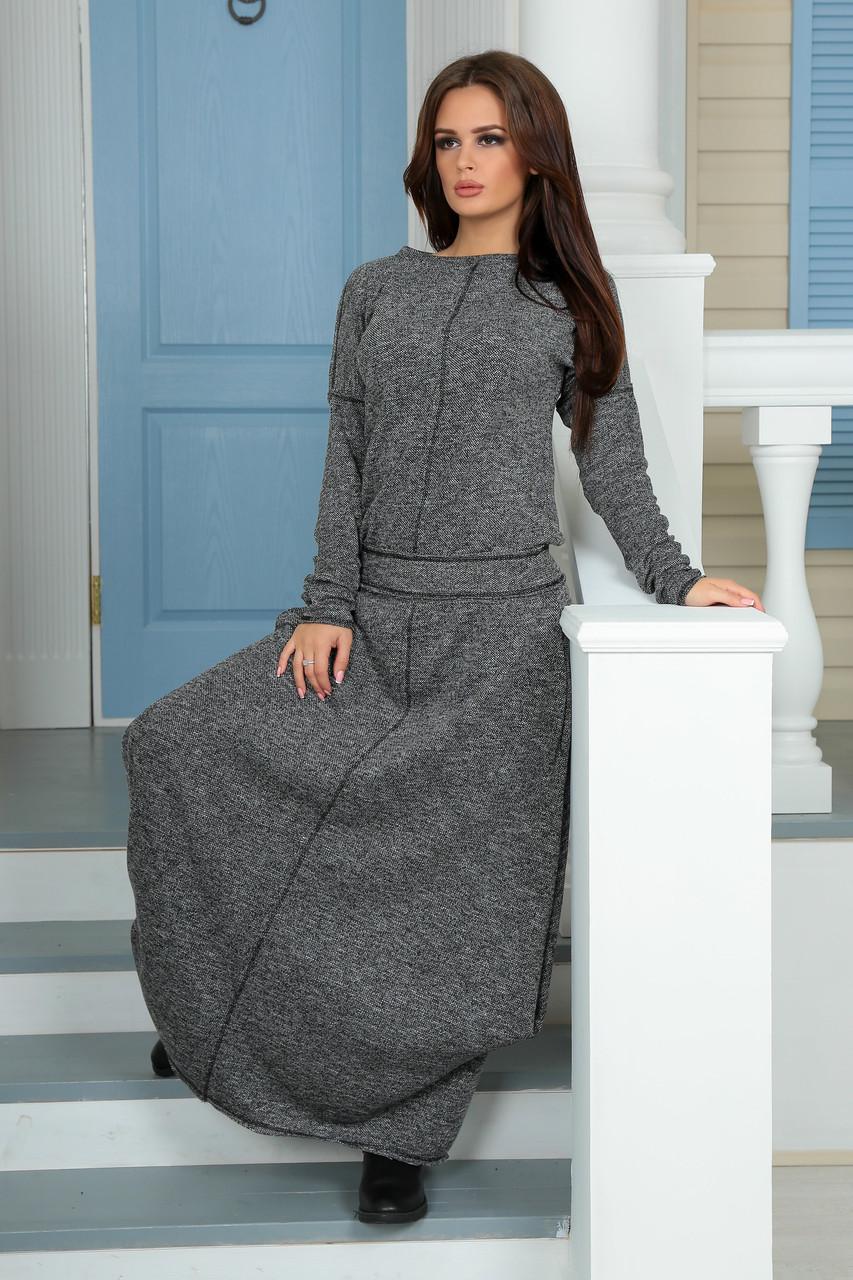 Длинное трикотажное платье осенью