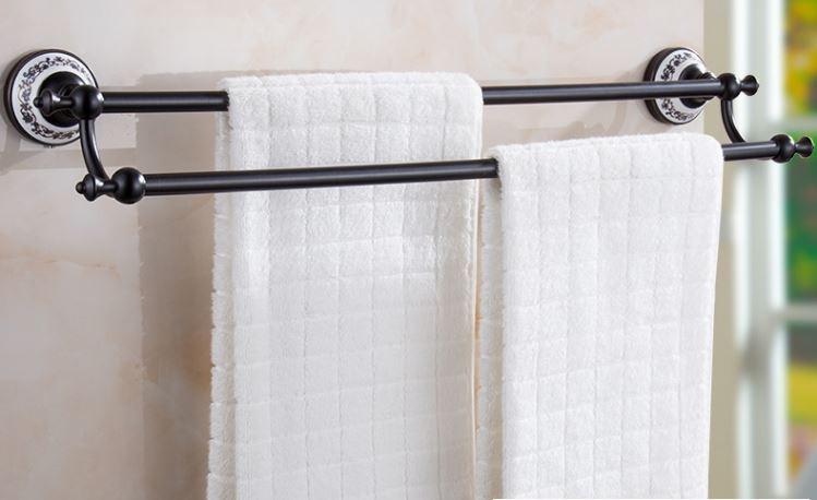 Вешалка для полотенец черная на кухню или в ванную комнату настенная двухуровневая
