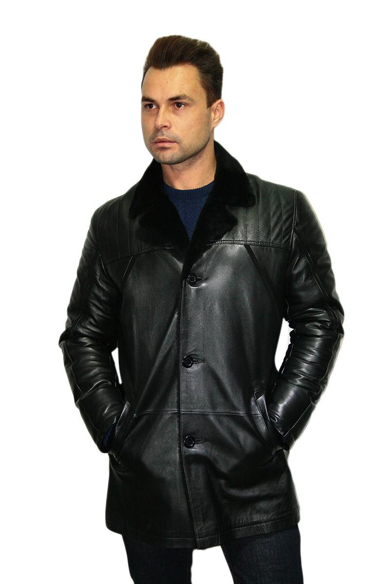 Мужская дубленка длинная из натурального сырья (в черном цвете) /  sheepskin coat for men 337