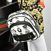 Маленький женский черно-белый рюкзак с тиграми и совами, фото 7