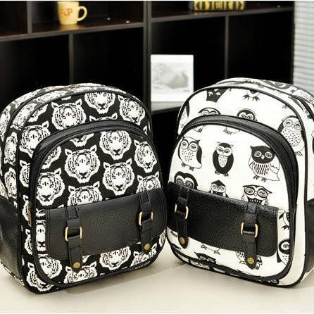 Маленький женский черно-белый рюкзак с тиграми и совами