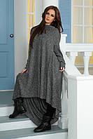 Женское трикотажное длинное платье-пончо свободного кроя от производителя