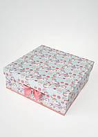Большая квадратная подарочная коробка ручной работы нежного бирюзового цвета с единорогом