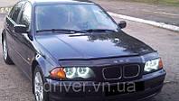 Дефлектор капота (мухобойка) BMW 3 серии (46 кузов) 1998-2001, на крепежах