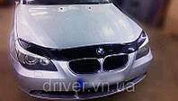 Дефлектор капота (мухобойка) BMW 5 серии (60 кузов) 2003-2010, на крепежах