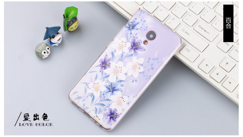 Оригинальный чехол панель накладка для Meizu M3e с картинкой цветы на фиолетовом фоне