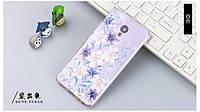 Оригинальный чехол панель накладка для Meizu M3e с картинкой цветы на фиолетовом фоне, фото 1