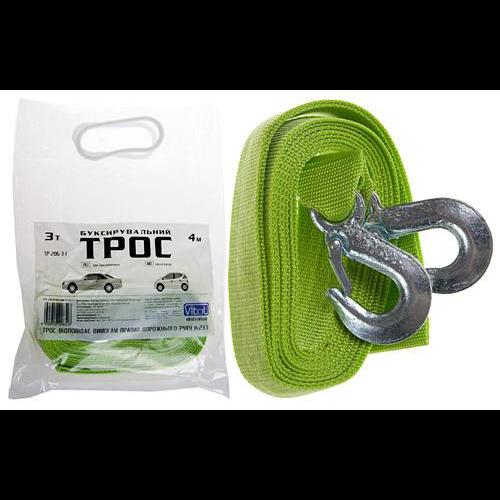 Трос буксир ST206/TP-206-3-1 К (FL) 3т лента 40мм х 4м люмин./крюк/кулек