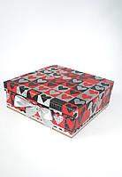 Большая квадратная подарочная коробка для влюбленных ручной работы с чёрно-бело-красными сердечками