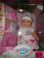 Пупс BL010D-S аналог Baby Born, 8 функций, аксессуары 42 см