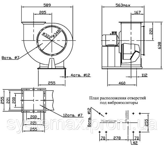 Габаритные и присоединительные размеры центробежного вентилятора ВЦ 4-75 №3,15