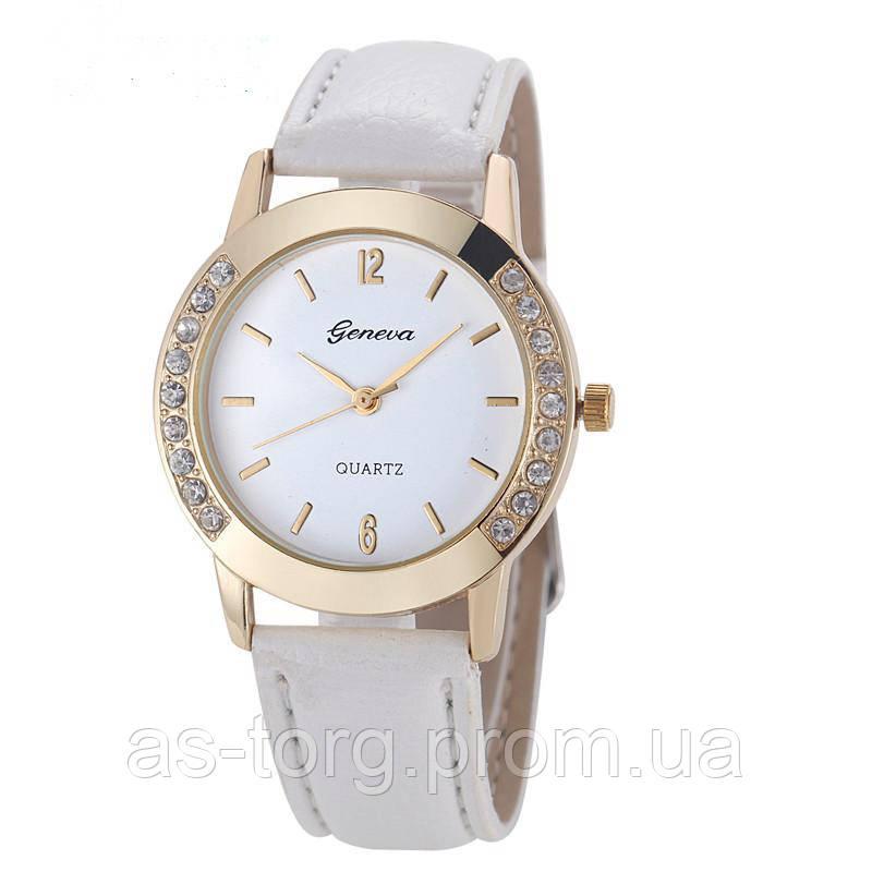 6a2189f5 Часы наручные женские со стразами, часы женские с белым ремешком, цена  249,99 грн., купить в Днепре — Prom.ua (ID#463960271)