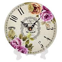 Часы круглые из дерева Цветы 18 см