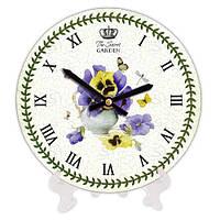 Круглые часы с принтом Фиалки 18 см