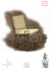 Кованая качеля стул КЧС-2
