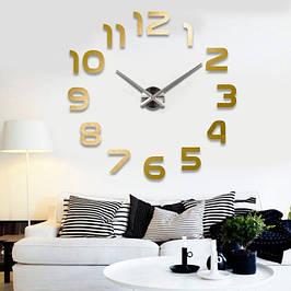 3D часы настенные (арабские цифры) Золото