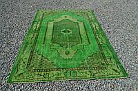 Ярко зеленый классический тонкий ковер из шерсти и хлопка, фото 1