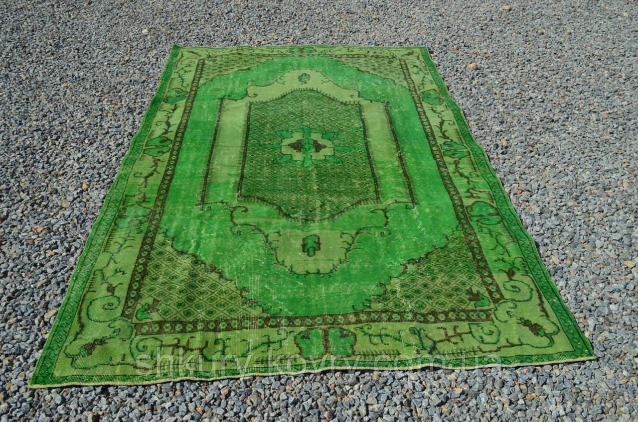 Ярко зеленый классический тонкий ковер из шерсти и хлопка