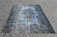 Искусственно вытертый классический состаренный ковер голубого цвета , фото 1