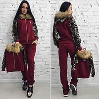 Турецкий бордовый  спортивный костюм с леопардовыми вставками, мех на капюшоне . Арт-9565/30