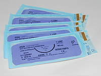 Нить хирургическая рассасывающаяся PGA 5/0 USP 45 см, круглая колющая игла 17 мм 1/2