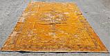 Штучно витертий класичний яскраво помаранчевий вінтажний килим, фото 3