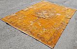 Штучно витертий класичний яскраво помаранчевий вінтажний килим, фото 4