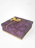 Большая квадратная подарочная коробка ручной работы фиолетового цвета с созвездием