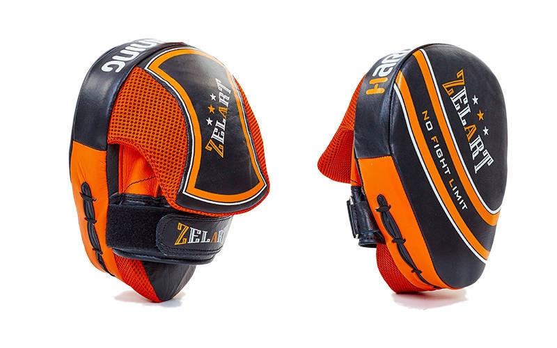 Лапа Изогнутая (2шт) Кожа ZEL ZB-6148 (крепление на липучке, р-р 25x19x9см, черно-оранжевая) - Интернет-магазин Sport2012 в Днепре