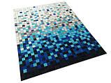 Гарний сучасний килим сірий з блакитним кольором, фото 4