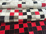 Червоно сіро чорний килим з шматочків телячої шкури, фото 2