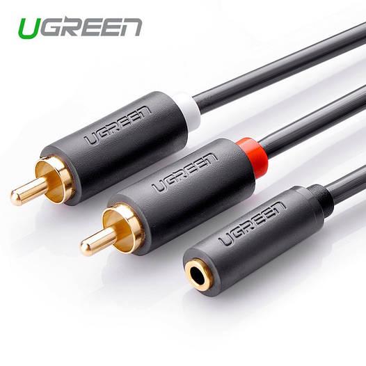 Ugreen Переходник-разветвитель гибкий jack 3.5mm F / 2RCA M