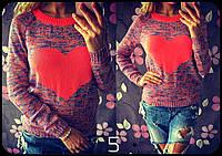 Стильный женский свитер,с узором сердце, цвет фиолетовый,розовый