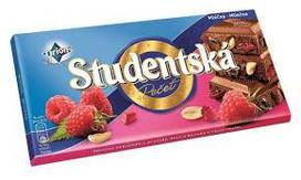 Шоколад ORION Studentska Pecet молочный с малиной, желе и арахисом 180 г (Чехия)