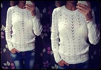 Красивый женский свитер, цвет голубой,белый