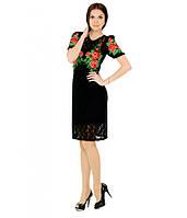 """Черное  вышитое женское платье """"Шарм"""" М-1043, фото 1"""