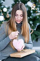 Брелок-сердце из натурального меха (светло-розовый)