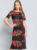 Платье с цветами длиной миди Роза