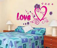 Інтер'єрна декоративна наліпка на стіну Кохання / Интерьерная декоративная наклейка на стену Любовь (AY9074)