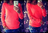 Красивый женский свитер с декором на рукавах, цвет ярко-розовый,голубой