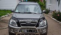 Дефлектор капота (мухобойка) Chery Tiggo (T11)  2005-2012 с обл рад, на крепежах