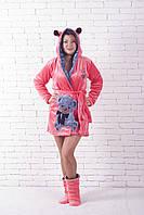 Короткий махровый халат молодёжный с ушками мишка, фото 1