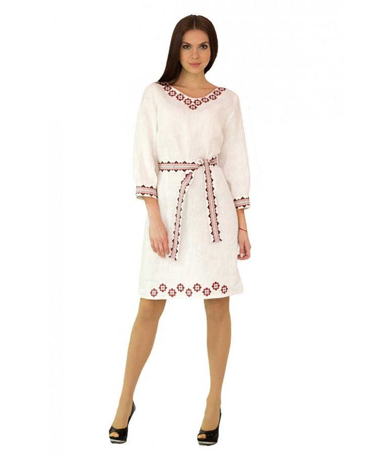 """Белое вышитое женское платье """"Апрель"""" М-1017"""