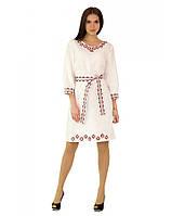 """Белое вышитое женское платье """"Апрель"""" М-1017, фото 1"""