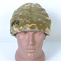 Флисовая зимняя камуфляжная шапка пиксель нового образца