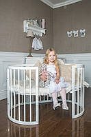 Круглая деревянная кроватка трансформер 7 в 1 от 0 до 10 лет белый цвет