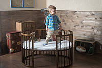 Овальная деревянная кроватка трансформер 7 в 1 от 0 до 10 лет цвет орех