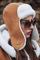 Женская шапка-ушанка замш.