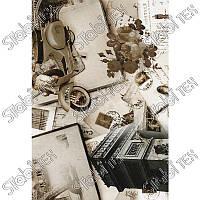 """Искусственная кожа Folio Desen (принт цветной) """"Париж бежевый"""""""